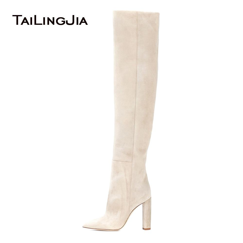 62ccfae51575 Women Beige Faux Suede Over The Knee High Slouchy Boots Pointy Toe Chunky Heel  Slouch Long Boots Ladies Winter Heeled Shoes 2018 Work Boots Knee High Boots  ...