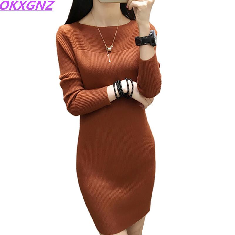71a64facf4 2018 Autumn Winter Women Sweater Dress Warm Pullovers Sweater Elastic Slim  Knitted Dress Bottoming Sexy Women Dress Okxgnz 339 Y190426 Short Prom  Dresses ...