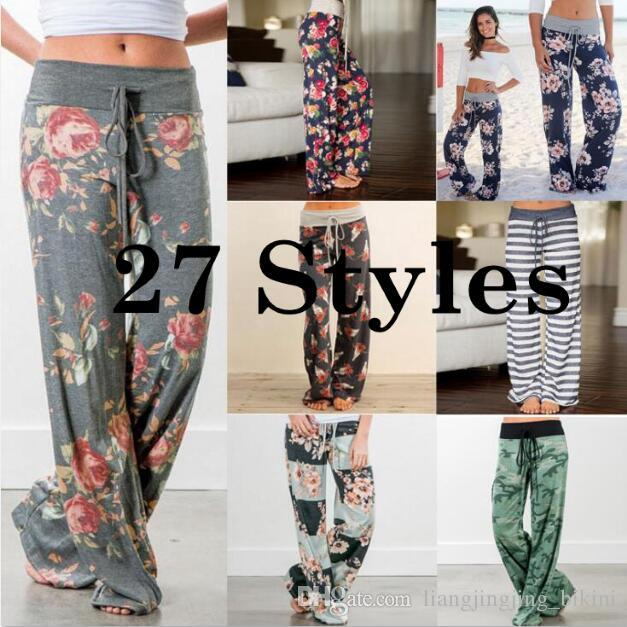 832fc485d2 Women Floral Yoga Palazzo Trousers 27 Styles Summer Wide Leg Pants ...