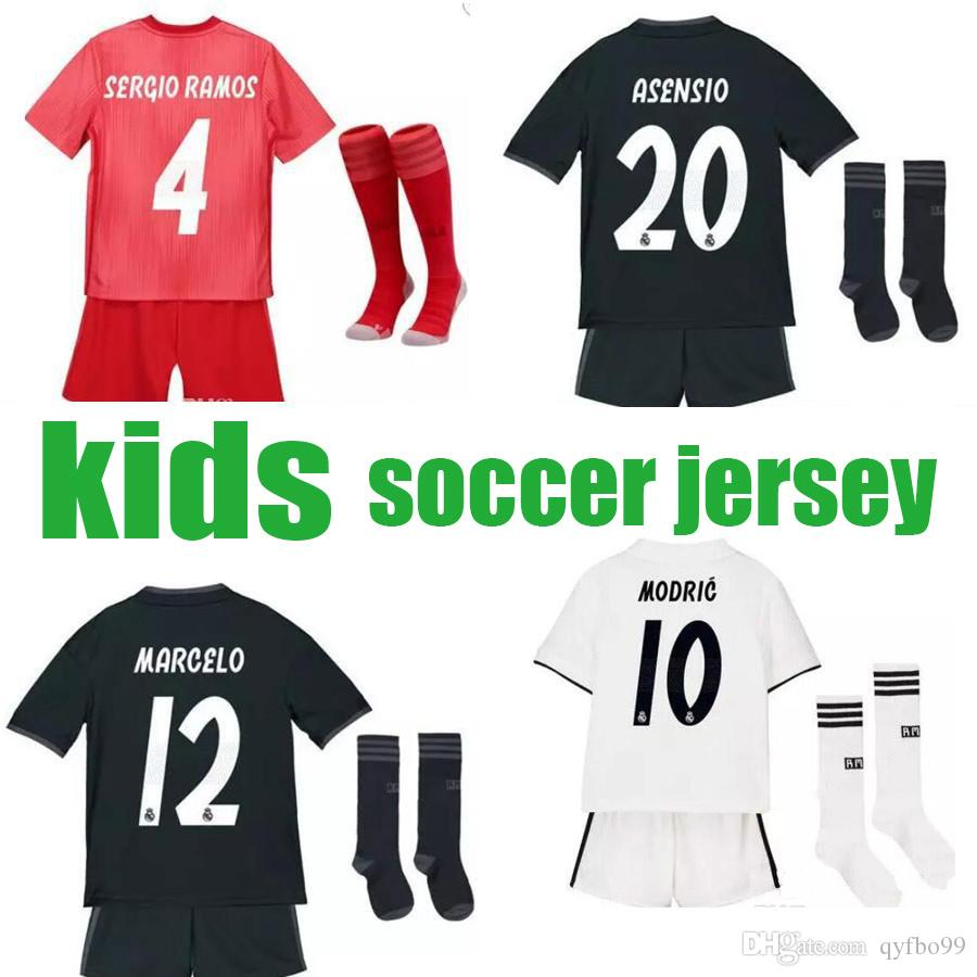 Kids kit +socks Real Madrid 2019 MARIANO ASENSIO MODRIC soccer jersey 18 19 RAMOS BALE ISCO Camiseta Boy football shirts Third red Jerseys
