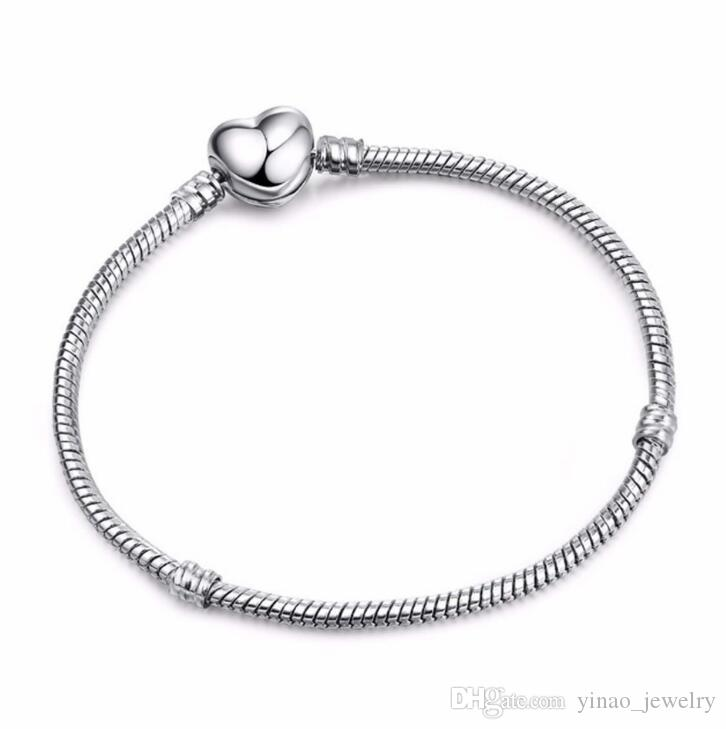 1pcs Drop Shipping Factory Silver Plated with LOGO Heart Bracelets Snake Chain Fit for pandora Bangle Logo Bracelet Women Children Gift B002