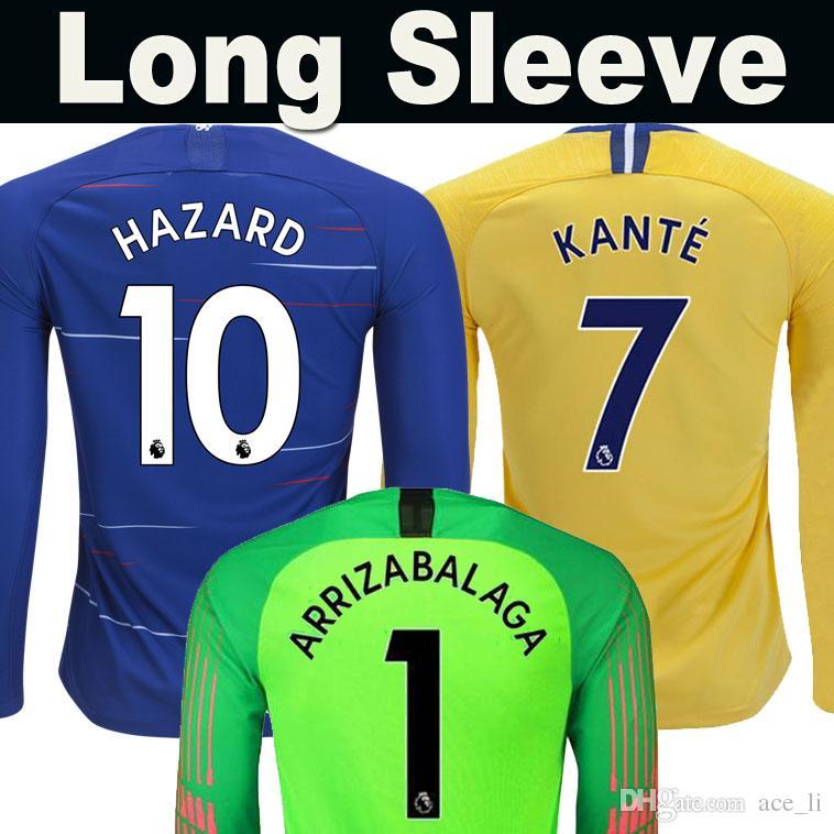 Camiseta De Fútbol De Tailandia Chelsea HAZARD MORATA KANTE Manga Larga  2019 WILLIAN GIROUD PEDRO JORGINHO KOVACIC RUDIGER MORATA Manga Completa 18  19 ... 14ef45fbc6723