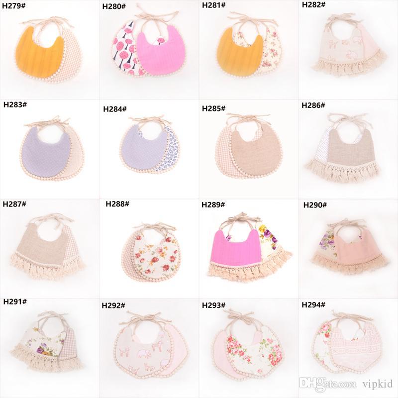 2019 INS Cartoon Floral geometry animal print bibs infant bandana Burp Cloths baby girls boys cotton double layer tassel bib C2
