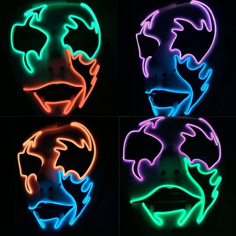 Led Glowing Halloween Face Mask Street Dance Hand -Painted Pvc Glue Forehead Cold Light Mask
