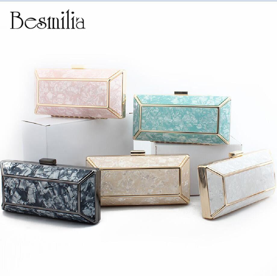 Fashion Design Marble Pattern Ladies Handbag Box Shape Shell Bag Clutch Evening Bag Chain Shoulder Cross Body Bag Party Purse