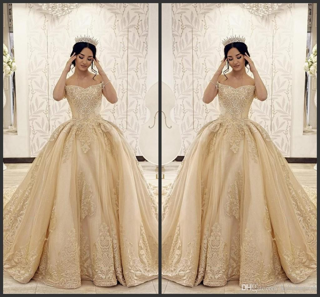 Plus Size Champagne Satin Wedding Dresses 2019 Cheap Wedding Gowns Nigeria  Country Wedding Dress Vestidos De Novia With lace Applique