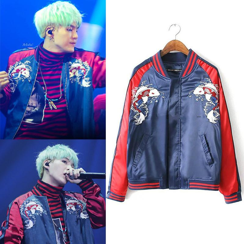 Kpop Bts Bangtan Boys Suga Baseball Jackets Hoodies Spring Autumn Casual Harajuku Embroidery Jacket V Baseball Coat Drop Ship