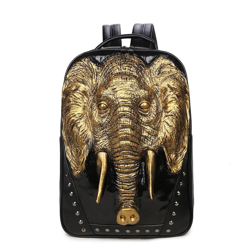 2019 New Men S Elephant Head Backpack Cool Pu Leather School Personality  Rucksacks For Teenage Girls School Bag Mochil Camping Backpack Backpacks  From ... 37fd2ccf13843