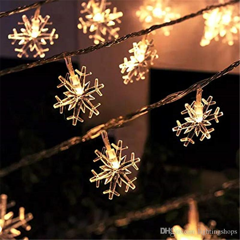 Snowflake Led Fairy Lights Christmas String Lights 3m 6m 10m Holiday Lighting Battery Operated For Indoor Outdoor Decorations