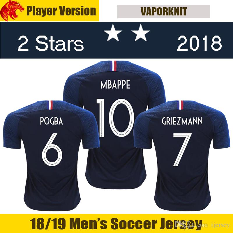 Compre 18 19 Player Version França Camisas De Futebol MBAPPE THAUVIN 2018  2019 MATUIDI França GRIEZMANN Camisa De Futebol DEMBELE GIROUD França POGBA  Camisa ... 1d9f42fea5d97