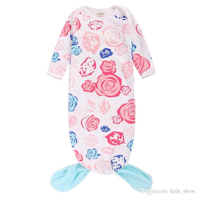 Cartoon Mermaid Pattern Floral Print Baby Boys and Girls Sleeping Bag Long Sleeve Newborn Aircondition Quilt Fall-Spring Use