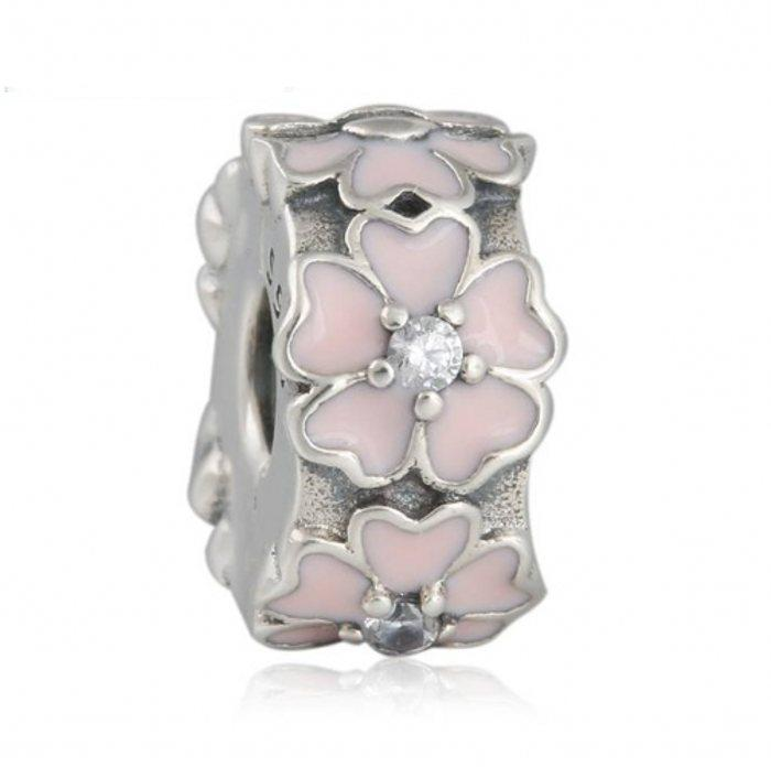 Pink Primrose Clip Charms Bead Authentic 925 Sterling-Silver-Jewelry Enamel Flower Stopper Lock Beads DIY Brand Logo Bracelets Accessories