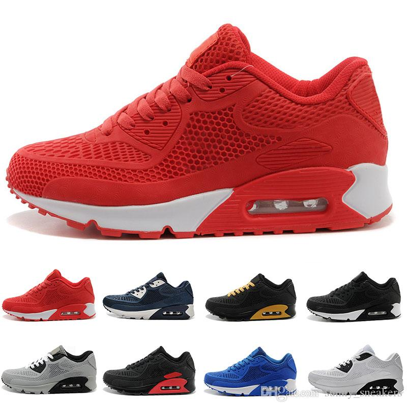 e1bfc8c6292 Compre Nike Air Max 90 95 97 98 270 2018 Nuevas Zapatillas De Deporte Cojín 90  KPU Hombres Mujeres Zapatillas De Deporte De Alta Calidad Baratas Todo Negro  ...