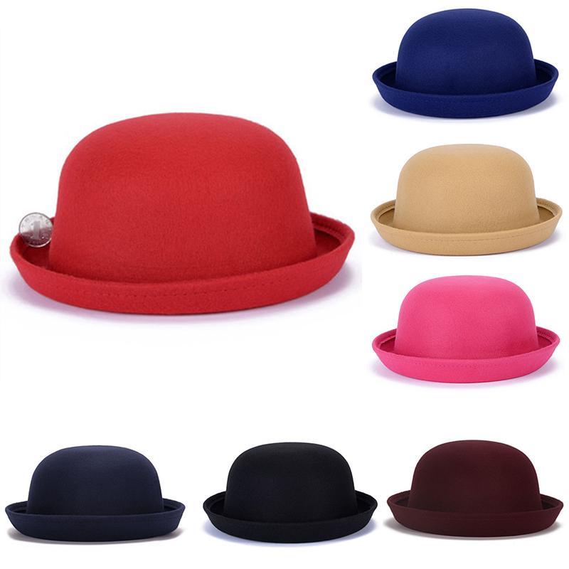 Compre 2018 Moda Invierno Sombrero Fedora Para Mujer Vintage Adulto Dama  Lindos Niños Elegante Lana De Moda Fieltro Bowler Sombreros Para Niña Y  Niño A ... 30d91c2d011e