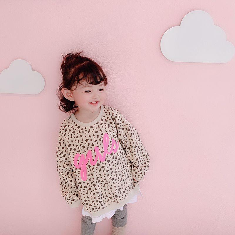 5c2a332cba47 2019 2019 Spring New Baby Girls Leopard Printing False Two Piece Fleece  Sweatshirt Children Cotton Long Sleeve Tops Kids Clothing From Askkit, ...