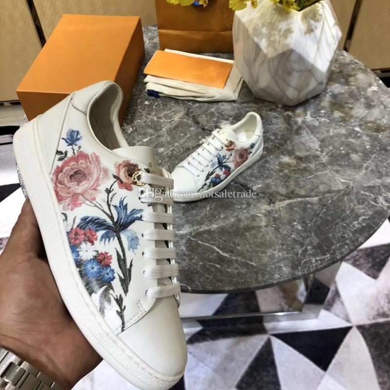 Designers Sneakers for Women Elaborate Floral Print Genuine Leather Women Casual shoe Luxury Shoes Fashion Outdoor Shoes White/silver