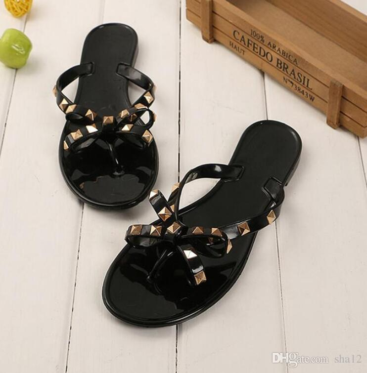 314076d90 Women Rivets Bowknot Flat Slippers Girls Flip Flops Summer Shoes Cool Beach  Jelly Shoes Dropshipping Dropshipping Platform Boots Womens Trainers From  Sha12, ...