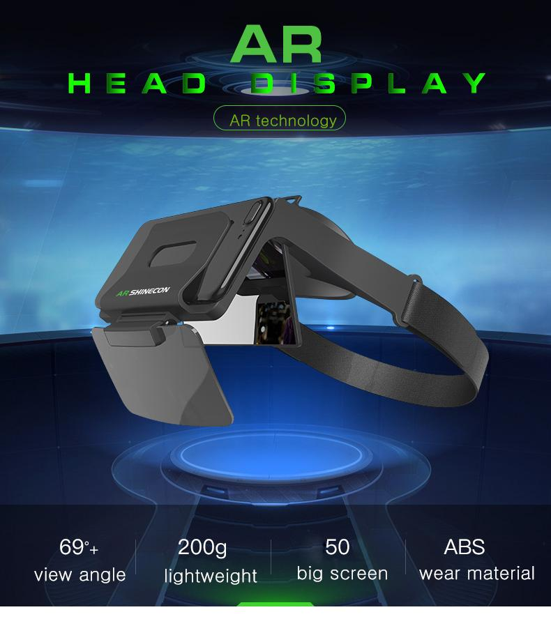 Virtual Reality 3D Glasses Headset AR Glasses Augmented Reality Game Movie  Viewer for iOS/ Android Phones AR Shinecon