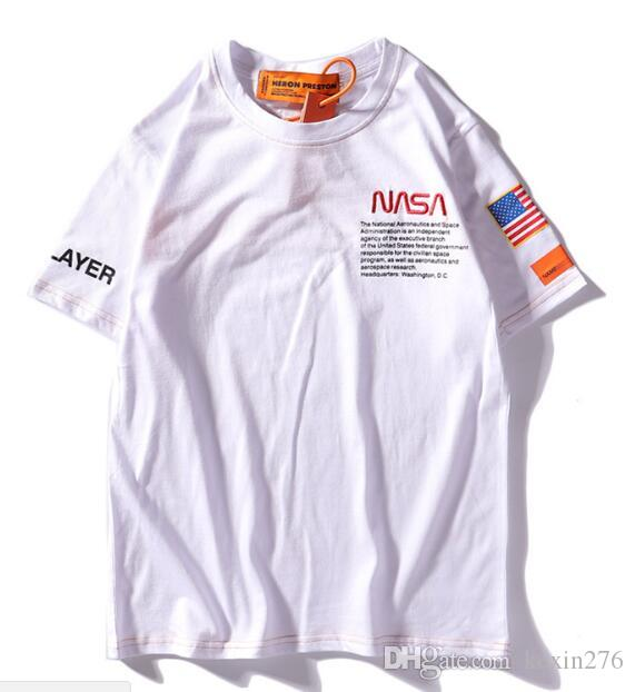 Summer NASA T-shirts fashion Short sleeve Tops white loose men and women T-shirt sweater loose T-shirt Couple hoodie wholesale