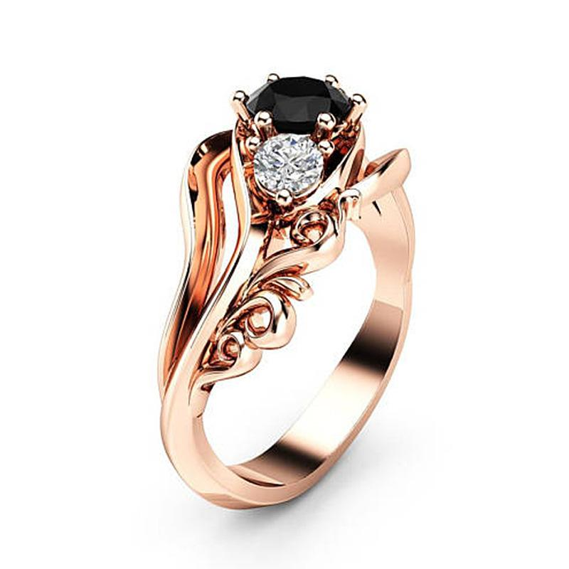Monili delle donne europee Pop Fiore Black Zircon Ring bijoux femme Rose Gold Color Chic Elegant Anelli femminili US Size 6-10 anillos
