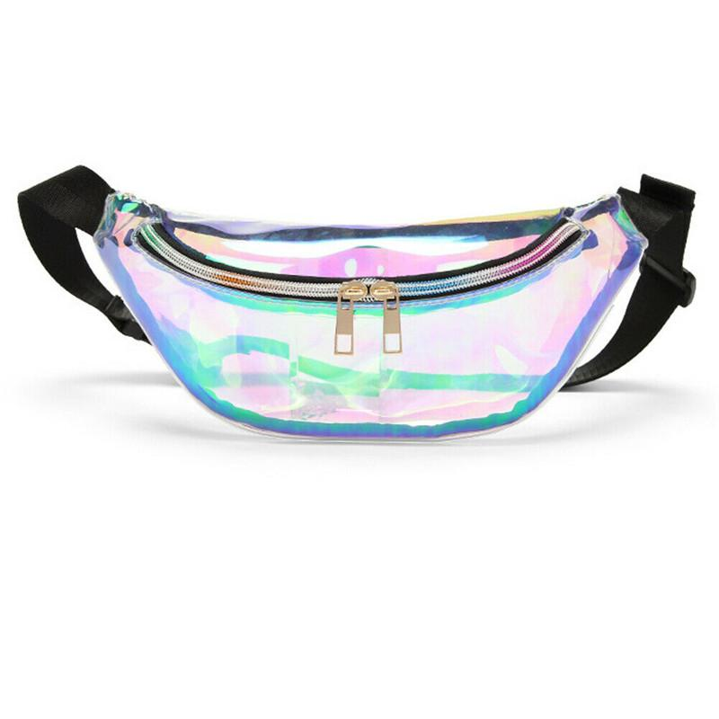 Fashion Transparent Purse Laser PVC Clear Waist Travel Packs Pouch Bag For Women Girls Buckle Coin Pouch Key Pocket Shoulder Bag