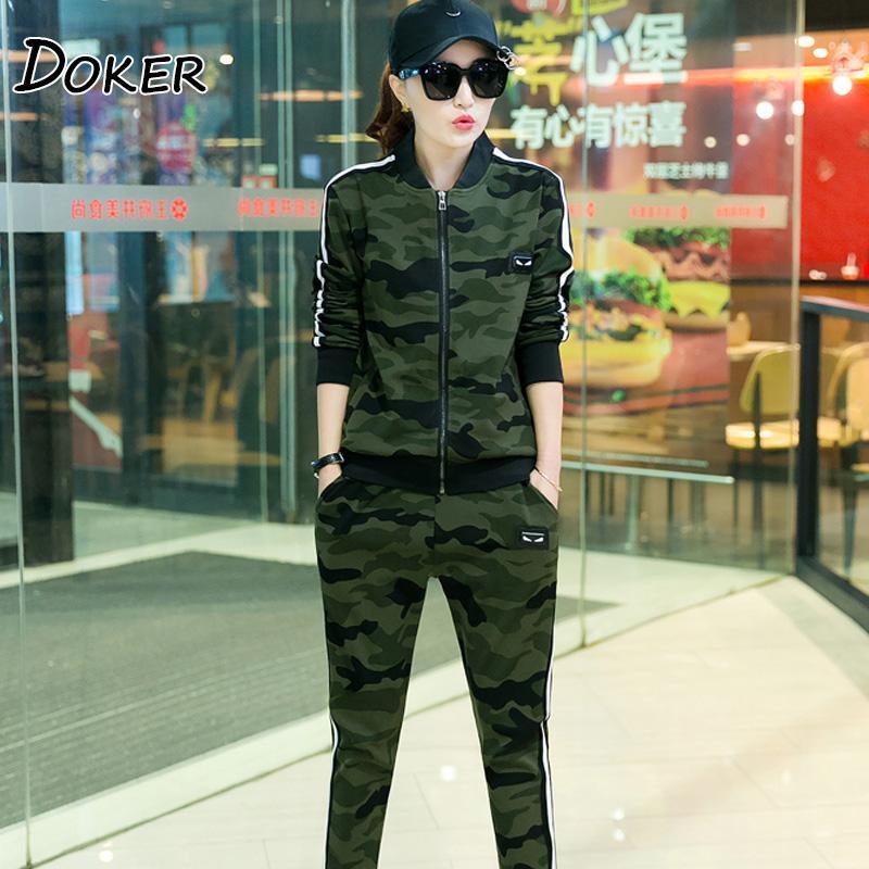 Acheter Camouflage Deux Pièces Ensemble Survêtement Femmes Zipper Cardigan  Tops Et Pantalons Sweat Shirts Femme Armée Vert Casual Costumes Sportifs De  ... c919a357893