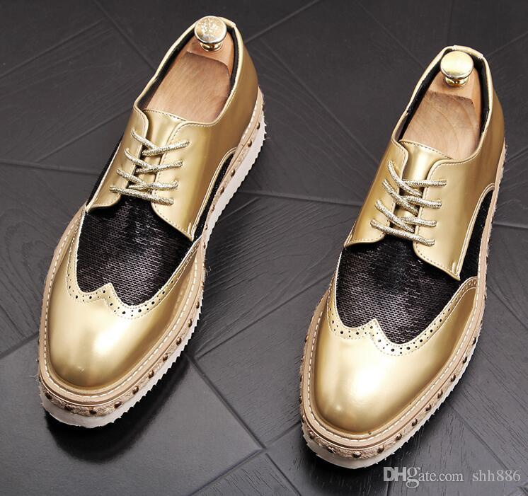 f6934b29 Compre Hot Sale Men Mocasines Plataforma Remaches Glitter Zapatos De Cuero  Con Cordones Flat Luxury Italia Celebrities Men Prom Party Boda Vestido De  ...