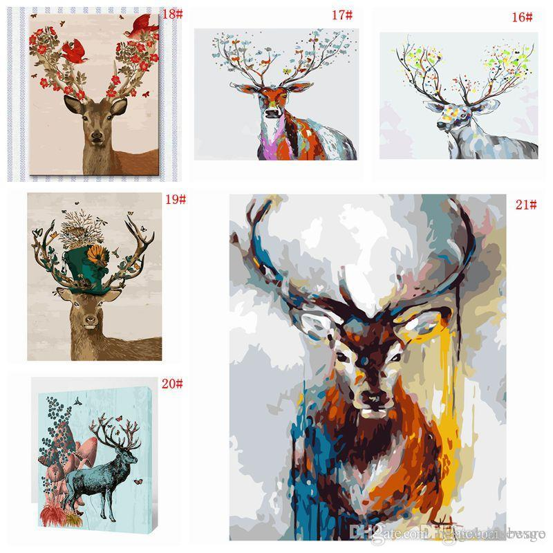 Home Decoration DIY Oil Painting Animal Picture Art Paint Hand Painted Deer Oil Painting Wall No Frame 16*20 inch DIY Painting BC BH1495-1