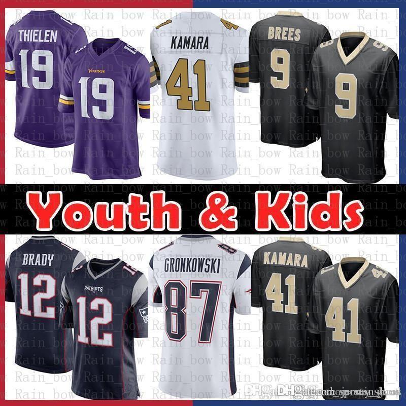 79dd818f 12.9 Youth Kids Jersey New Orleans Saints 9 Drew Brees 41 Alvin Kamara  Patriot 12 Tom Brady Rob Gronkowski Minnesota 19 Adam Thielen Vikings