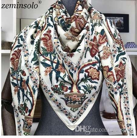 eda77564ab3 Compre 100% Bufanda De Seda De Las Mujeres Grandes Chales De Impresión  Floral Estolas Pañuelo Cuadrado Marca De Lujo Pañuelo Bufandas Mujer  Foulard 130 ...