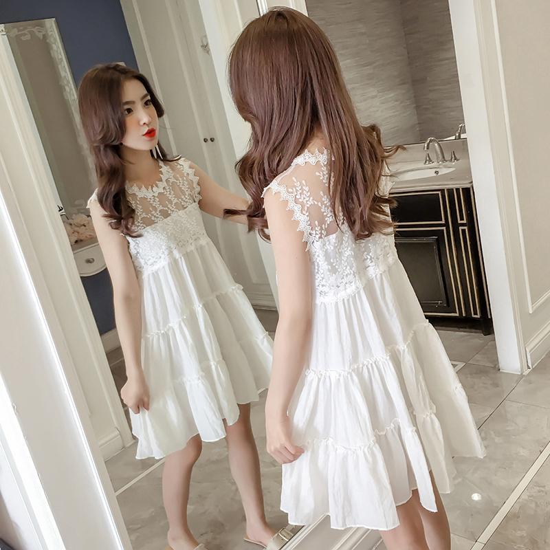 Acheter 2019 Été Dentelle Adolescente Blanche Robes Mode 14 Ans Filles  Gilet Sans Manches De $40.12 Du Nextbest10