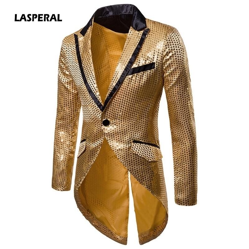 Lasperal Tailcoat Wedding Groom Suit Jackets Stage Singer Prom Dresses Costumes 2019 Men Gold Silver Red Black Sequin Slim Fit Y190420