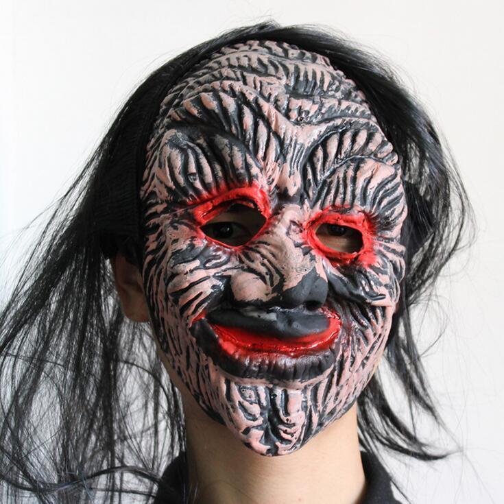 Cadılar bayramı Ürpertici Hayvan Prop Lateks Parti Maskesi Unisex Korkunç Domuz Başkanı Maske King Kong Orangutan Cadılar Bayramı Korkunç Maske Ile Siyah saç