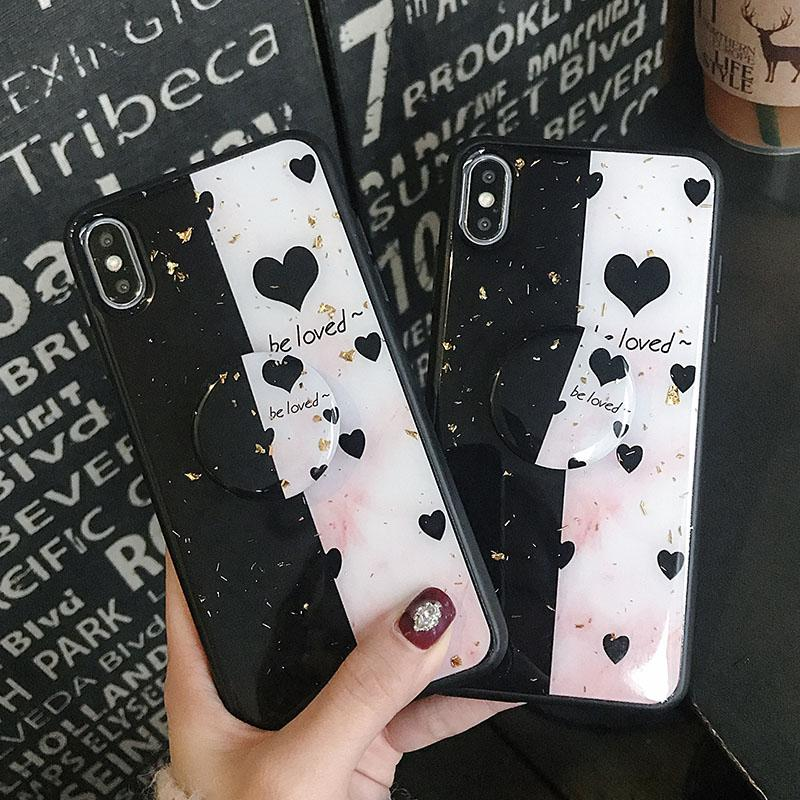 One Piece phone cover 2019 Luxury fashion Gold foil love stitching print phone case cases for IPhone 6 7 6P 7P X XR XsMax