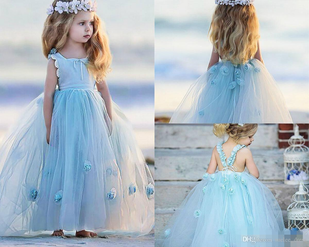 2019 Cute Baby Blue Flower Girls' Dresses Lace Applique Ruffles Handmade Flowers Backless Tulle A Line Pageant Birthday Party Gown
