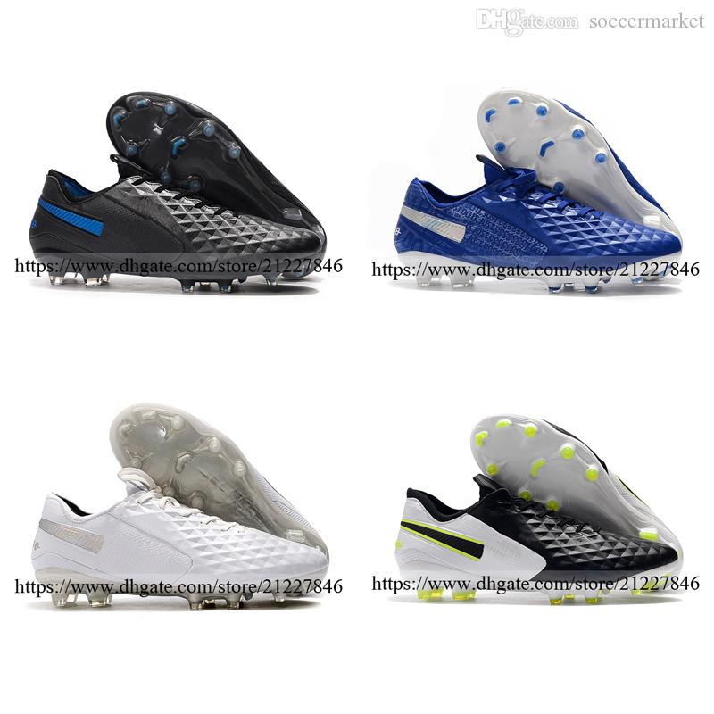 New Color Arrival Tiempo Legend VIII Elite FG Outdoor Soccer Cleats Shoes For Men Football Boots Shoes Blue White Black Size 39-46
