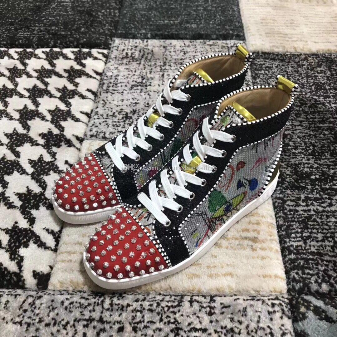 [With Box] Name Brands Beads High Top Spikes Sneakers Shoes Luxury Red Bottom Shoes Classic Designer Studs Casual Party Dress Wedding