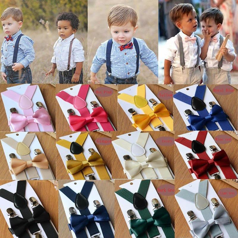 Ins Kids Harness clip+bow tie 2pcs/set Children Boy Girls Clip-on Y Back Elastic Suspenders Adjustable Braces Christmas gift A5989