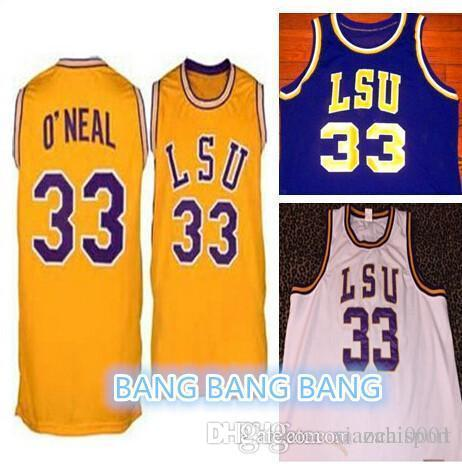 585c4a95805 Shaq Lsu Jersey #33 Shaquille Oneal jersey retro college White yellow  purple Men's Embroidery basketball jersey
