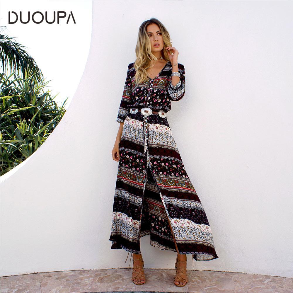 753bd76ec DUOUPA 2019 nuevo vestido largo de impresión bohemio mujeres maxi vestido  largo estampado floral retro hippie chic marca de ropa boho vestido