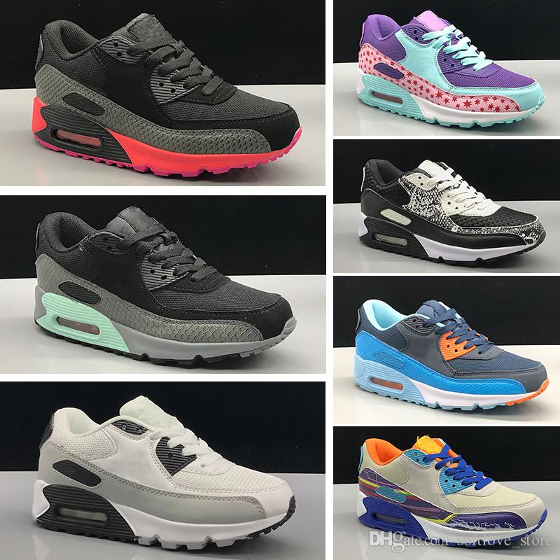 bf7eddc115 Compre Nike Air Max 90 Zapatos Para Niños Niños Clásicos 90 Vt Niños Y Niñas  Zapatos Para Correr Negro Rojo Blanco Entrenador Deportivo Cojín Superficie  ...