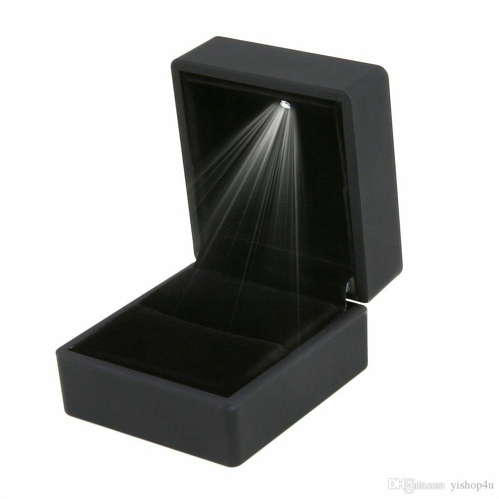 LED Lighted Gift Box Earring Ring Wedding Black Jewelry Display Packaging Lights