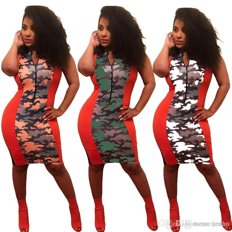 48c5faa65cb6b Camouflage Print Sexy Bandage Dress Women Front Zipper Sleeveless ...