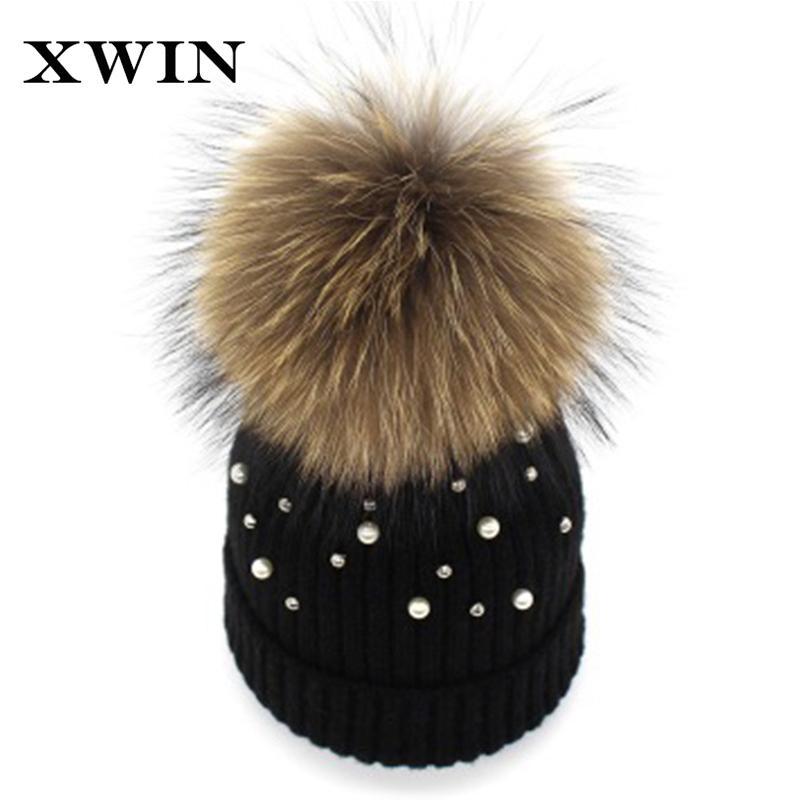 c6a8ae58b7a XWIN Women Beanies Raccoon Fur Pom Poms Wool Hat Beanie Pearl Knitted  Skullies Fashion Caps Ladies Knit Cap Winter Hats Beanie Hat Sun Hats From  Duweiha