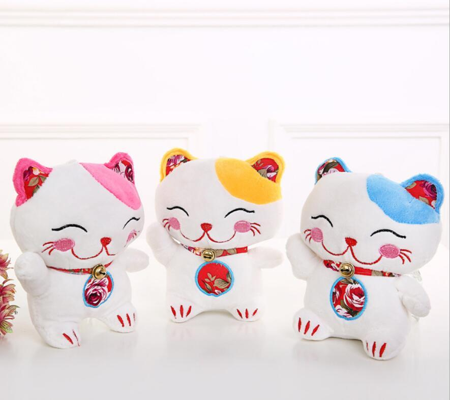 2019 22cm Cute Lucky Cat Plush Sucker Pendant Mascot Doll Wedding