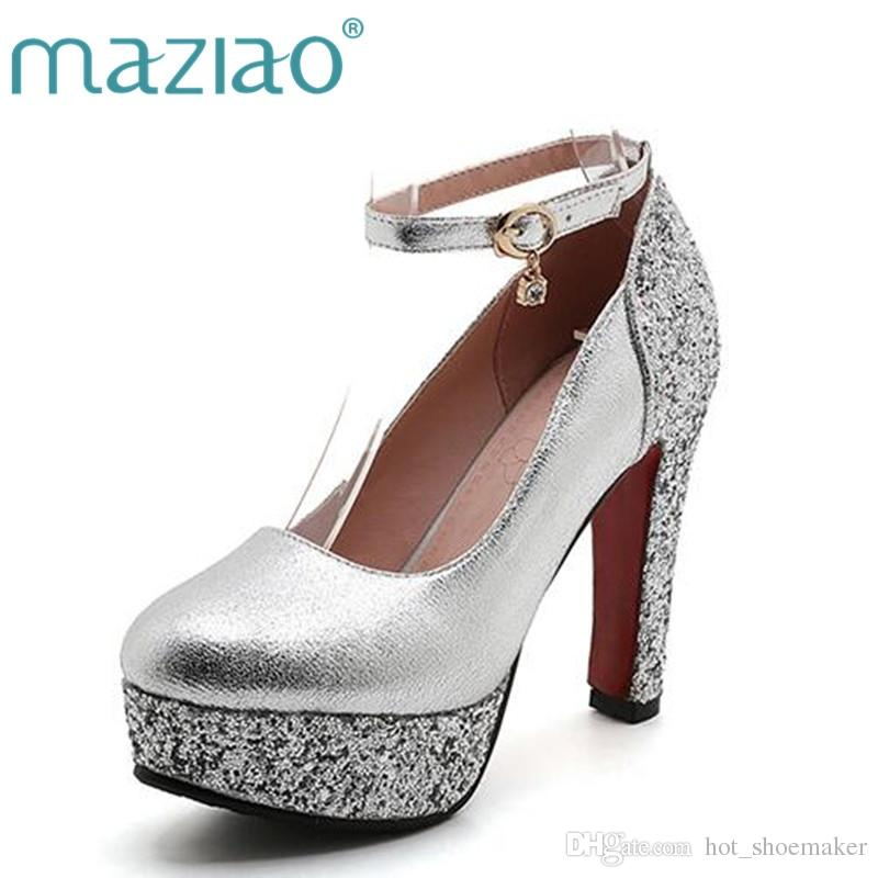 04b1ca804ea MAZIAO Fashion High Heeled Shoes Thick Heel Platform Paillette Gold Silver Wedding  Shoes Bridal Dress Formal  9673 Mens Dress Boots Men Sandals From ...