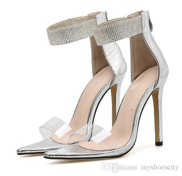 Más el tamaño de 35 a 40 41 42 Rhinestone de plata de diseño zapatos de moda de lujo mujeres de las sandalias de los altos talones de la boda viene con la caja