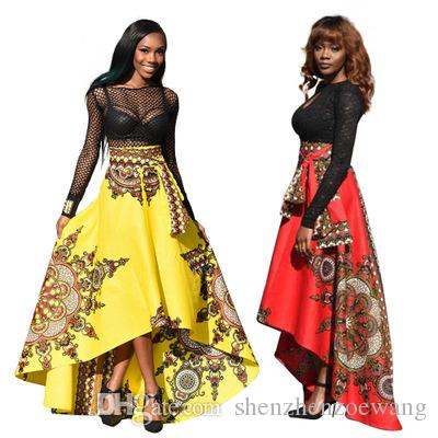 Plus Size Hot Sale Africa Fashion Printing Big Hemline Bust Skirt Hi-lo  Front Short And Back Long National Clothing Dresses