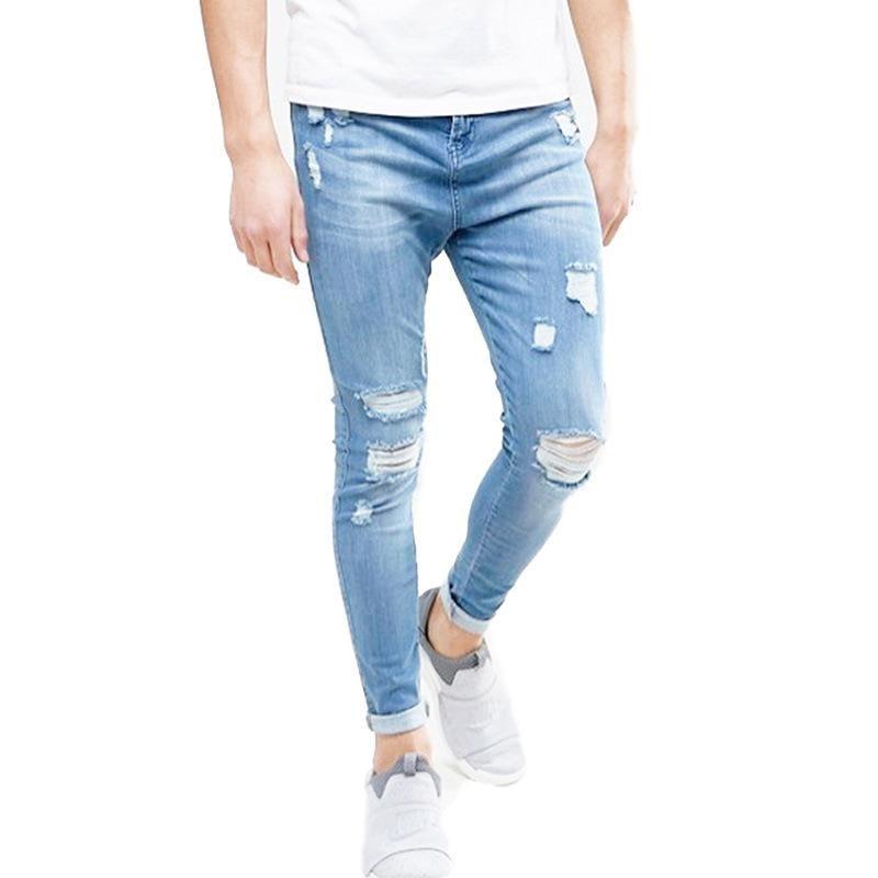 8123359249 Jeans strappati Jeans strappati Jeans aderenti Hip Hop Slim Fit Pantaloni  jeans elasticizzati Pantaloni elasticizzati Matita uomo Streetwear