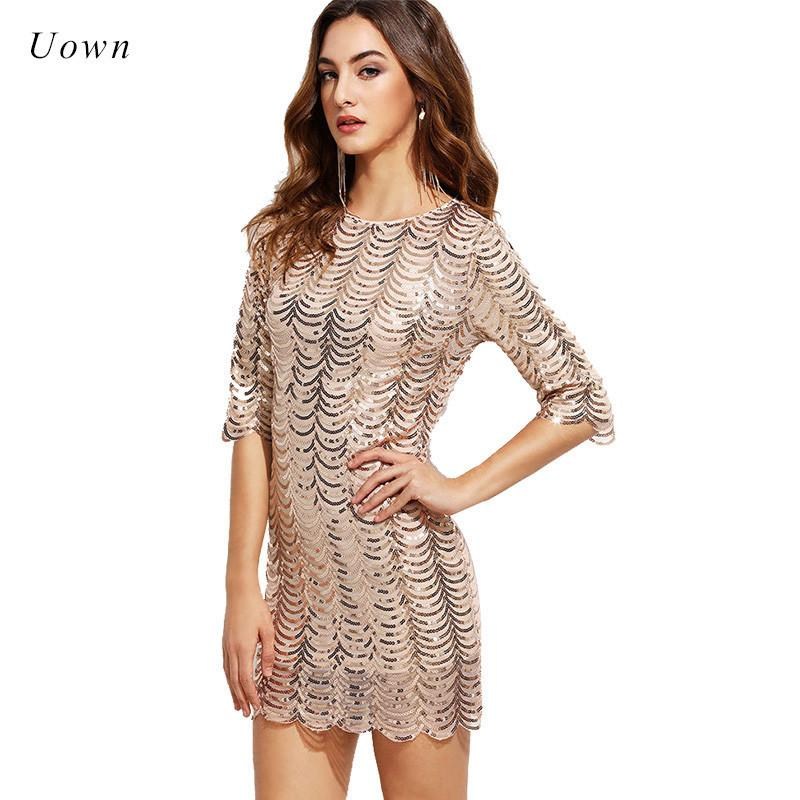 3 / 4 Sleeve Short Sequin Dress For Women Or The Neck Zipper Shiny Elegant Cocktail Dresses Feminine Mini Track Suits